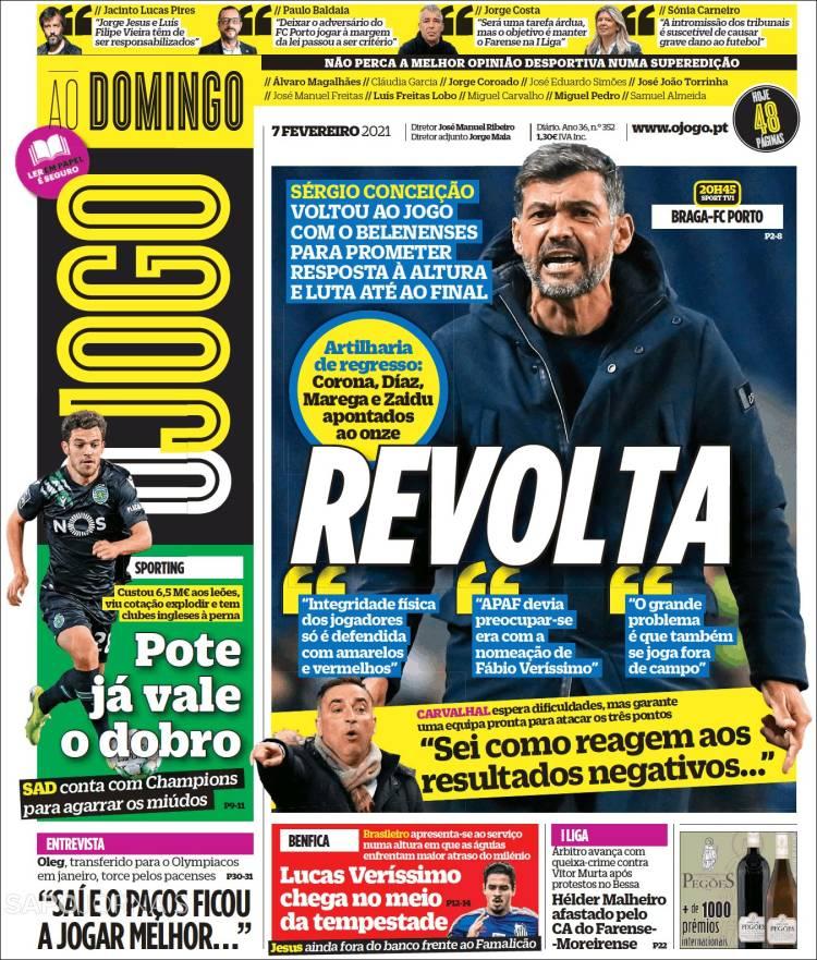 Newspaper O Jogo Portugal Newspapers In Portugal Sunday S Edition February 7 Of 2021 Kiosko Net