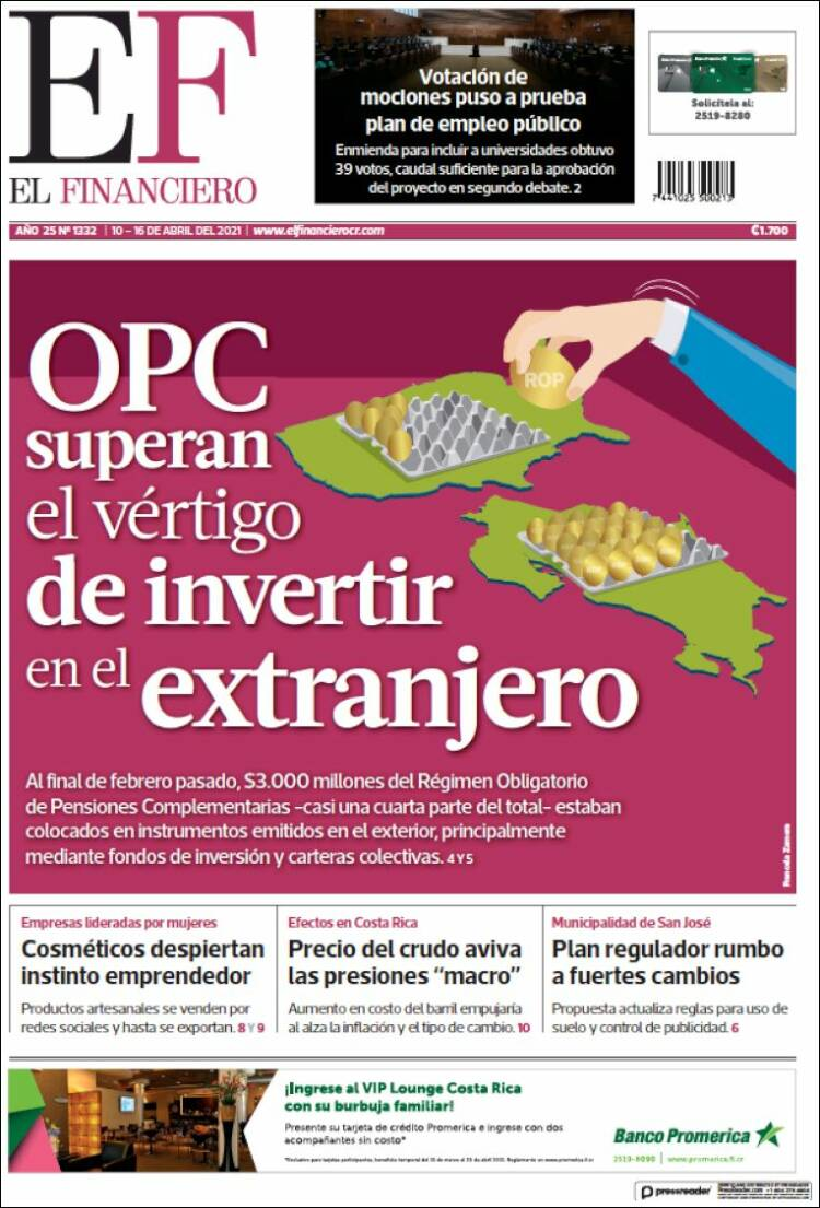 Portada de El Financiero (Costa Rica)