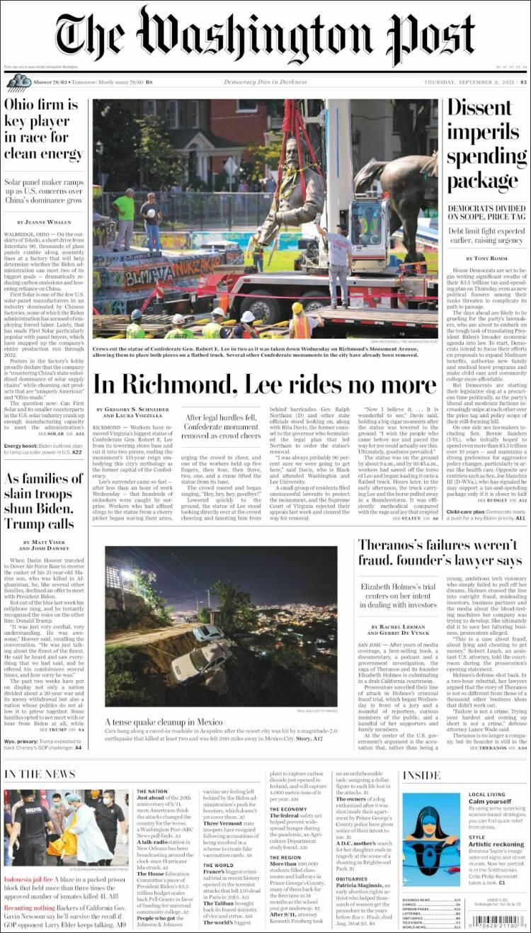 Portada de The Washington Post (USA)