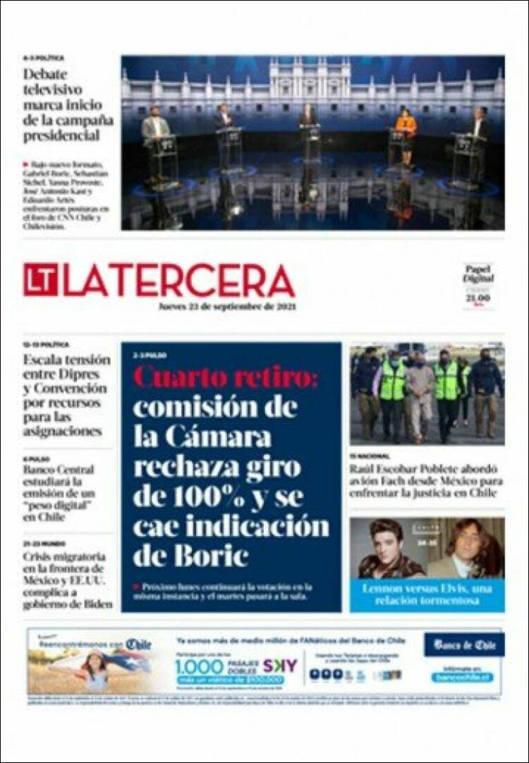 Portada de La Tercera (Chile)